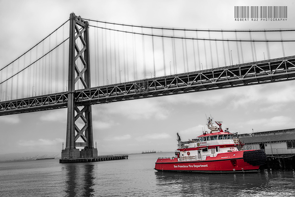 San Francisco Fire Department boat and Bay Bridge